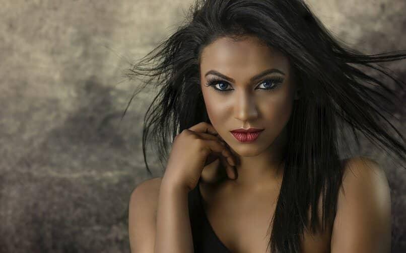 woman retouching her beauty