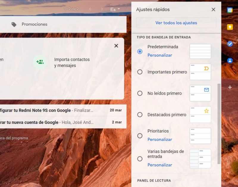 panel de lectura ajustes gmail