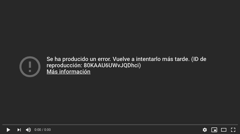 youtube anuncia un error