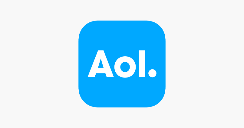 email application aol blue background