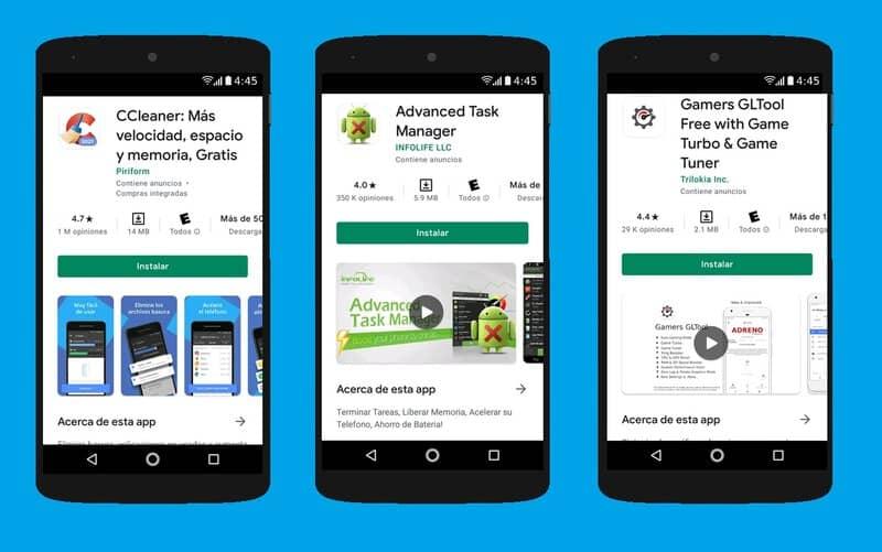 tres aplicaciones para mejorar velocidad android