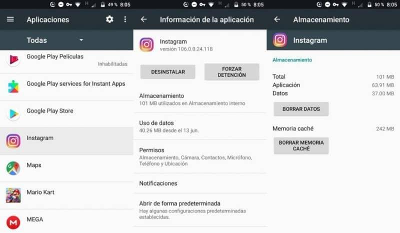 borrar datos y cache de instagram
