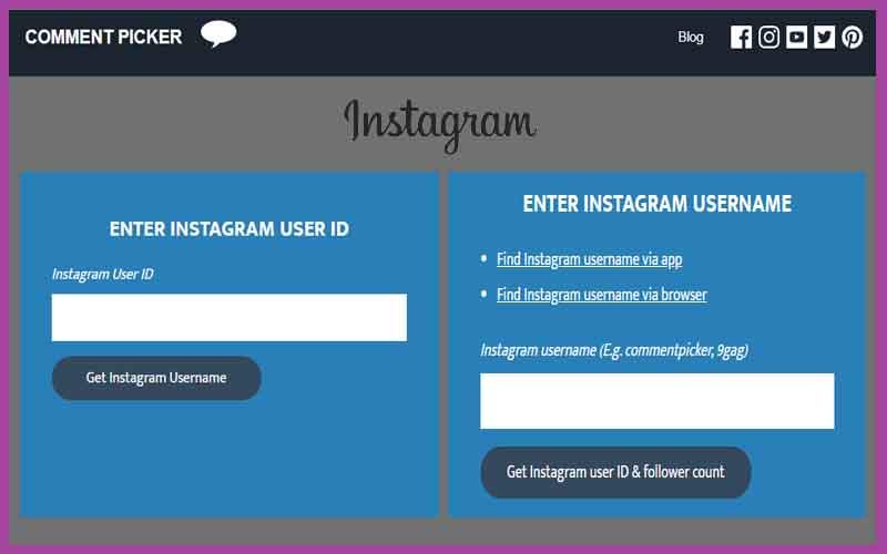 buscar id y nombre de usuario en instagram con comment picker
