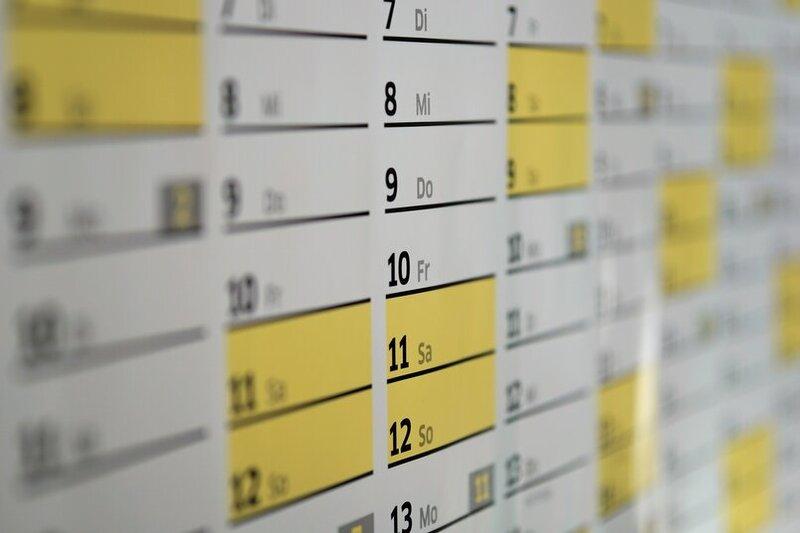 hoja de datos de excel con fechas