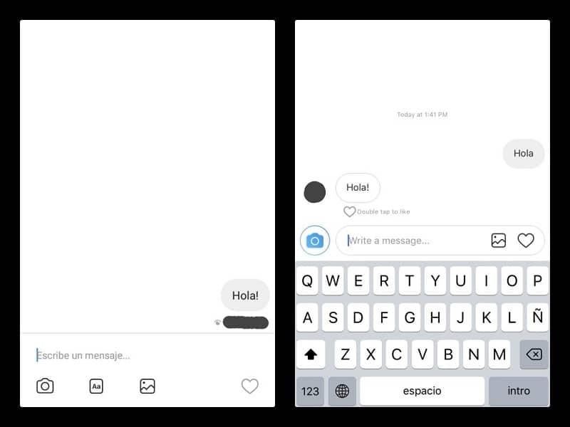 conversacion en el chat de instagram