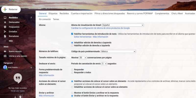 opciones avanzadas gmail
