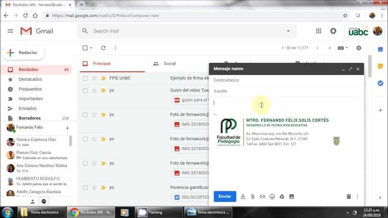 enviar una firma en un correo de gmail