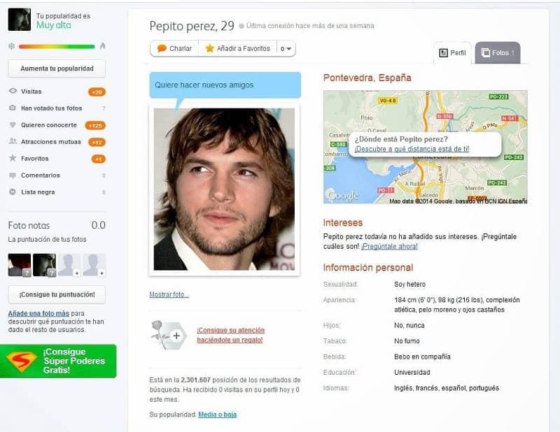 perfil de un hombre en badoo