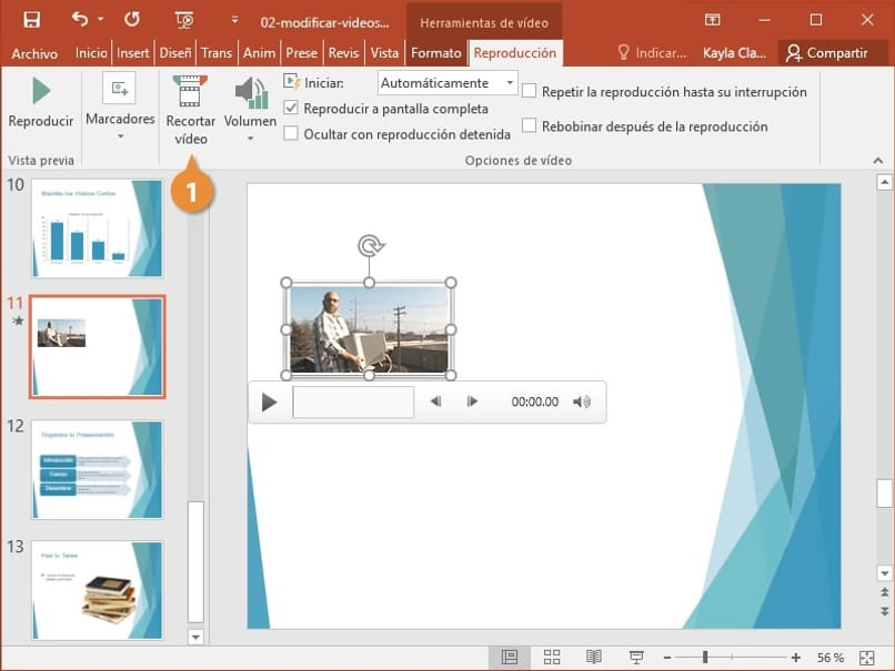 edit a video before playing it in powerpoint