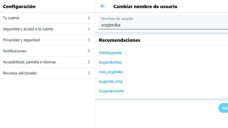 modificar el nombre de perfil de twitter
