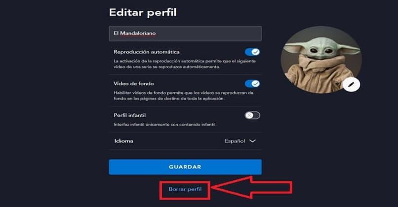 profile delete button