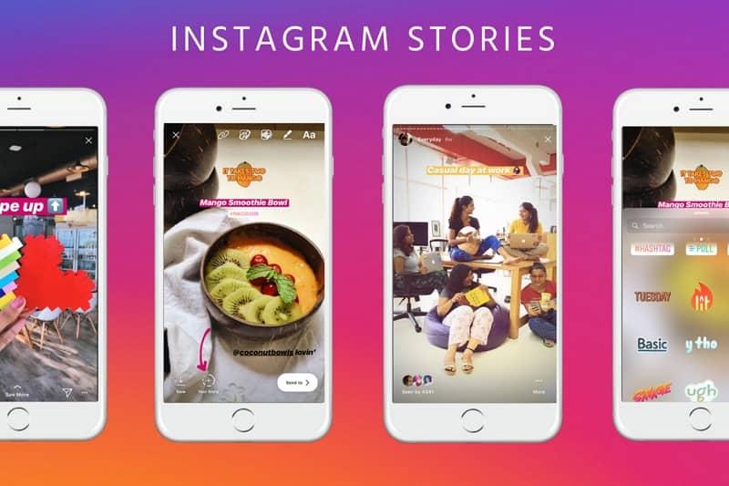 varias historias de instagram en el movil