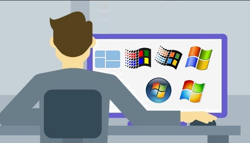 persona usando pc con varias versiones de windows