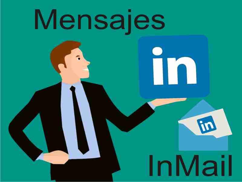 persona con logo linkedin inmail y mensajes