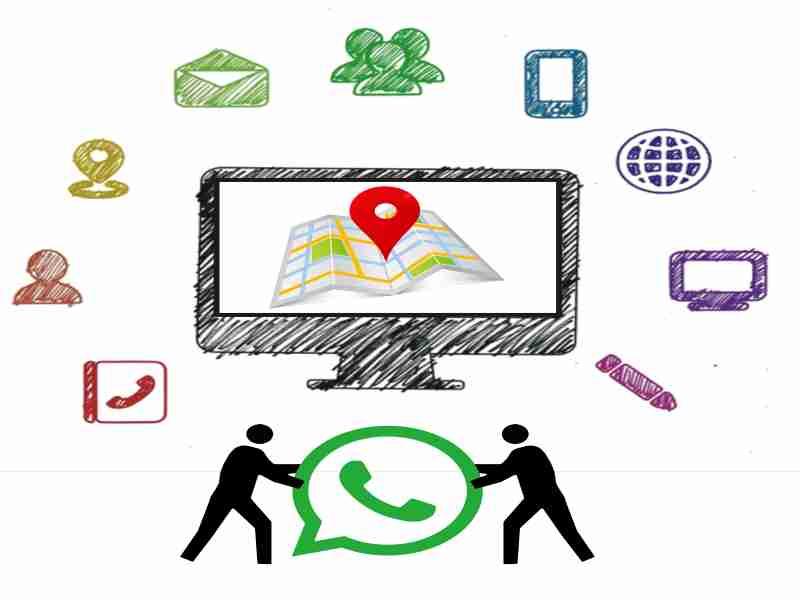 interfaz de varias opciones como mapas whatsapp