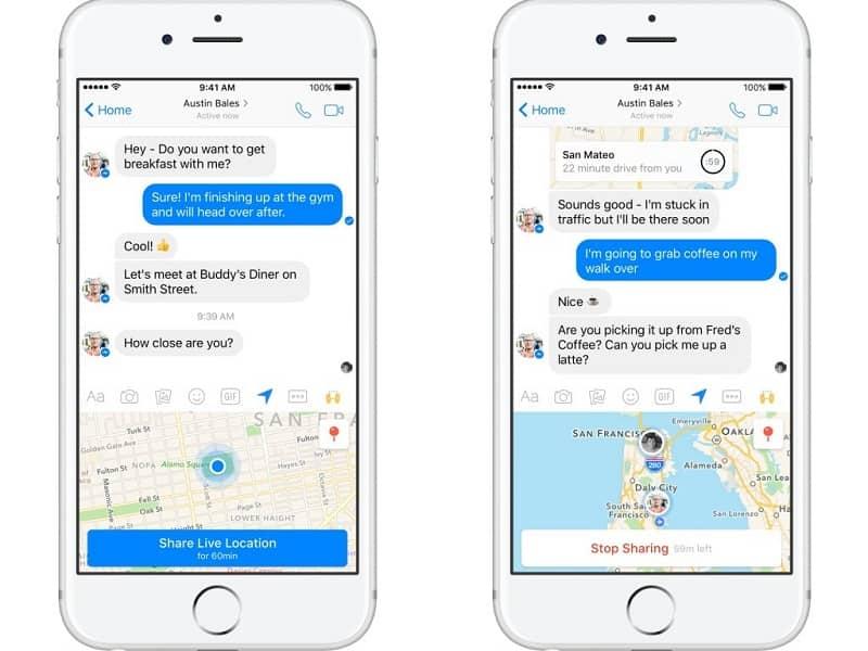 mostrar ubicacion por chat a un amigo de messenger
