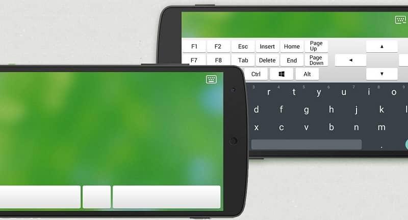movil utilizado como teclado para computadora
