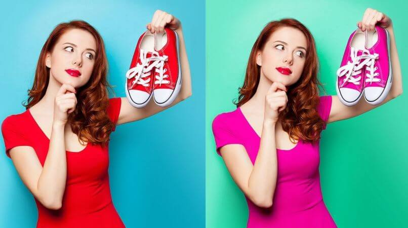 change the color of clothes and shoes in Photoshop