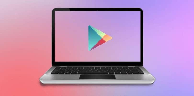 laptop con el logo de google play store en la pantalla