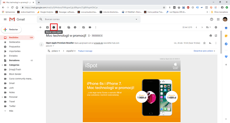 seleccionar spam en gmail