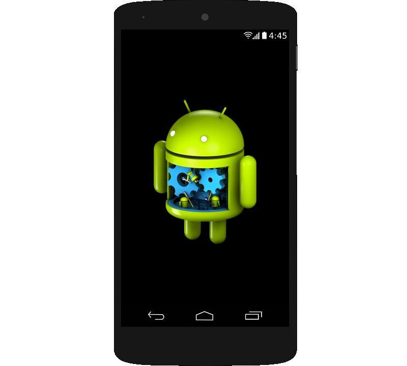 telefono con logo  de android en reparacion