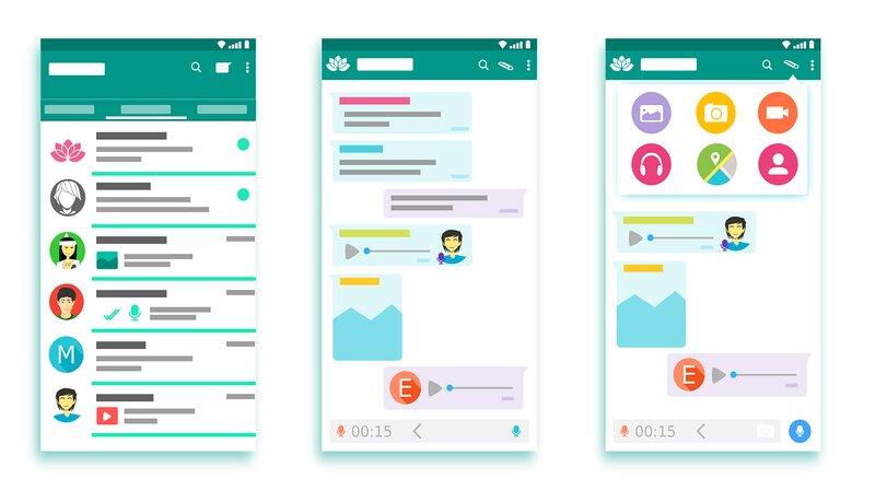 interfaz de whatsapp y todas sus ventanas