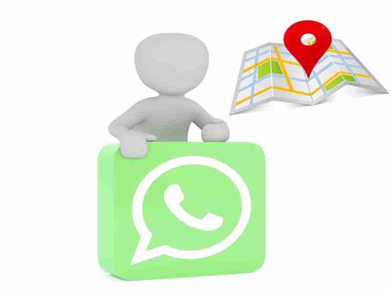 usuario con logo whatsapp y mapa