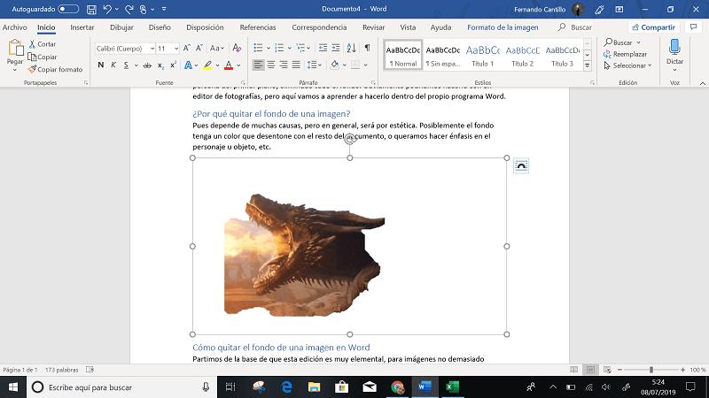 imagen de un dragon en word